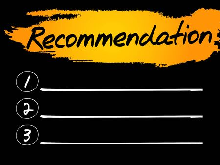 Recommendation Blank List concept background