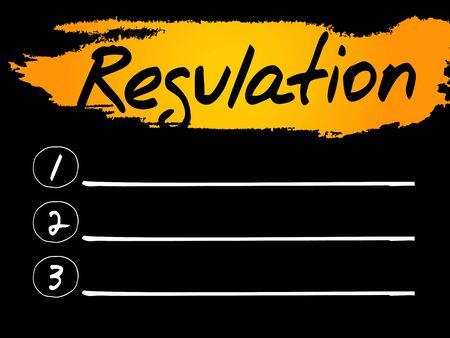 regulation: Regulation Blank List concept background
