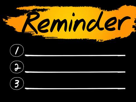 implication: Reminder Blank List concept background