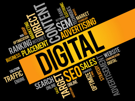 marketers: DIGITAL word cloud business concept