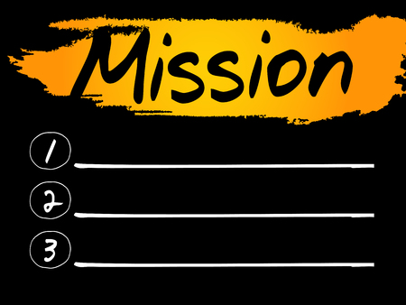 prioridades: Mission Blank List concept background