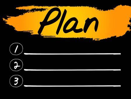 the list plan: Plan Blank List concept background