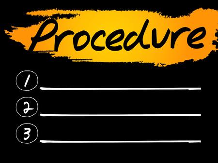 Procedure Blank List concept background