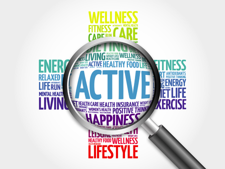 aerobic treatment: ACTIVE word cloud with magnifying glass, health concept
