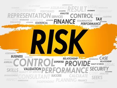 investing risk: RISK word cloud, business concept