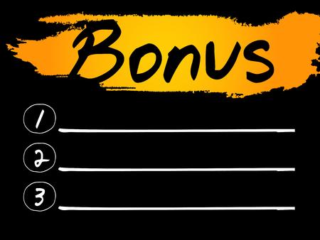 compensate: Bonus Blank List concept background