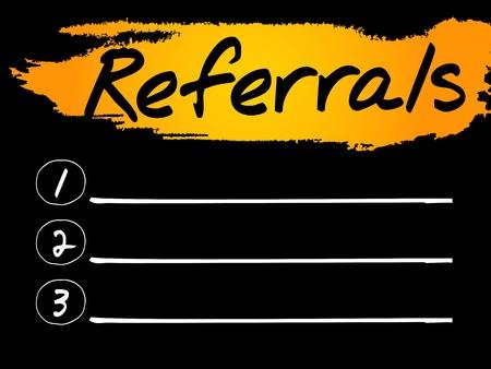 referidos: Referidos Lista en blanco concepto de fondo