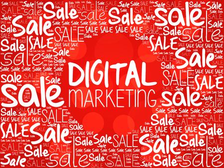 decoding: Digital Marketing word cloud background, business concept