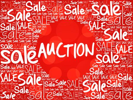 auction: AUCTION word cloud background, business concept Stock Photo