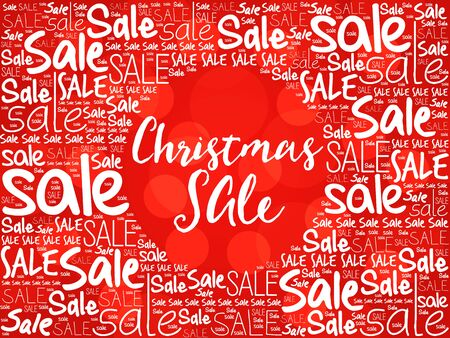 sale tag: Christmas SALE word cloud background, business concept Stock Photo