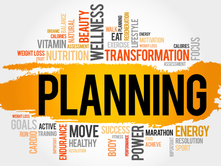 starvation: PLANNING word cloud, fitness, sport, health concept