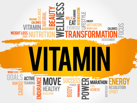 ascorbic: VITAMIN word cloud, fitness, sport, health concept