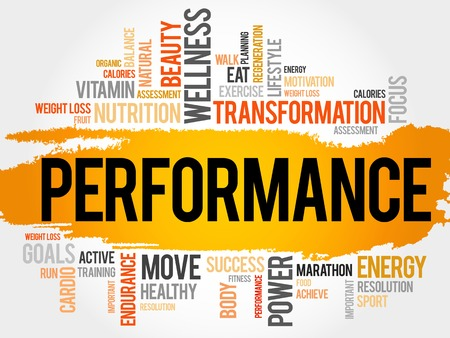 conduct: PERFORMANCE word cloud, fitness, sport, health concept