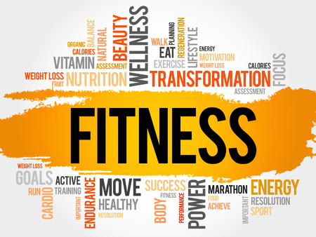 physique: FITNESS word cloud, sport, health concept Illustration