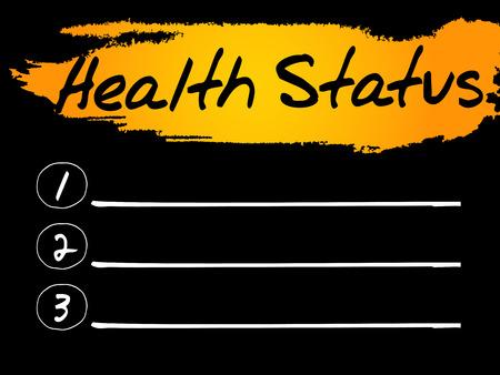 status: Health Status Blank List concept background