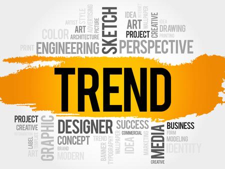 유행: TREND 단어 구름, 비즈니스 개념 일러스트