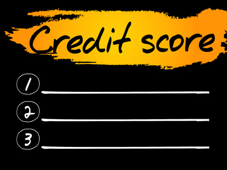creditworthiness: Credit Score Blank List concept background