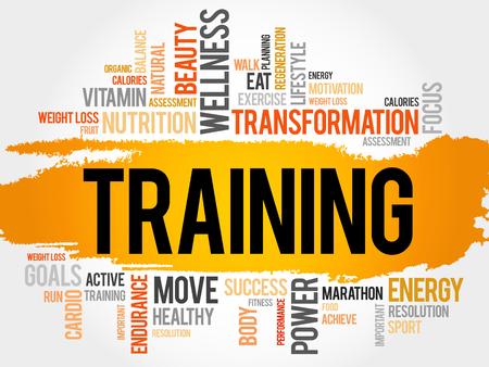 TRAINING Wortwolke, Fitness, Sport, Gesundheit Konzept Standard-Bild - 48466038