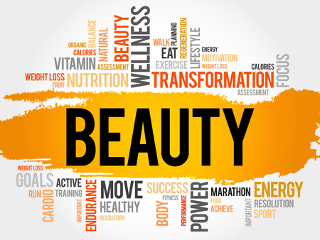 spa collage: BEAUTY word cloud, fitness, sport, health concept Illustration