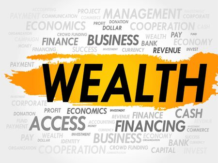 wealth management: WEALTH word cloud, business concept