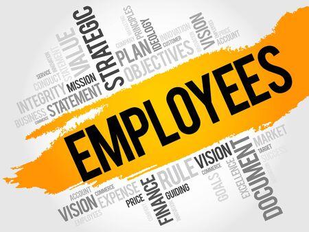employee development: Employees word cloud, business concept Illustration