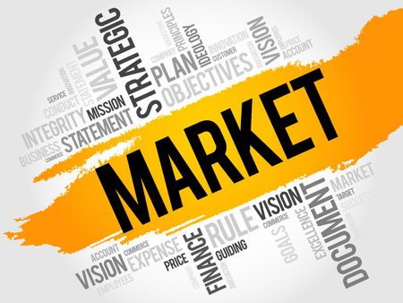 decoding: Market word cloud, business concept Illustration