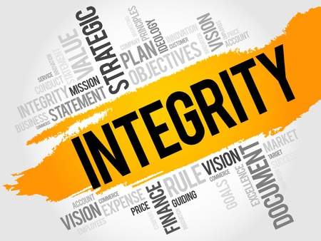 integridad: Integridad nube de la palabra, concepto de negocio