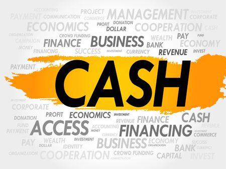 cash flow statement: CASH word cloud, business concept Illustration