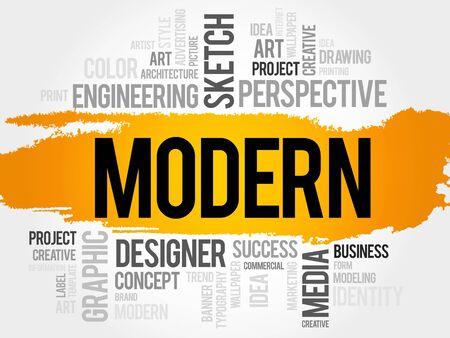 modern business: MODERN word cloud, business concept
