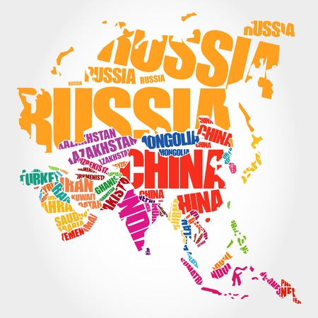 business asia: Asia Map in Typography word cloud concept, names of countries