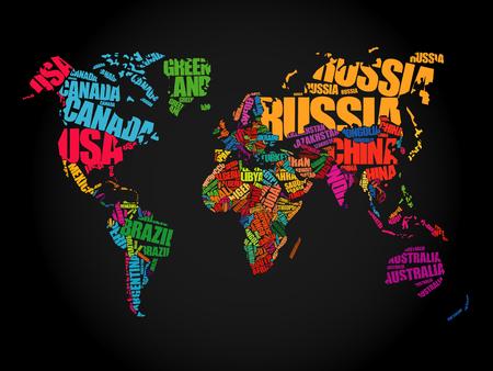 mapa politico: Mapa del Mundo en Tipografía palabra concepto de nube, los nombres de los países