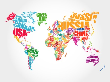 south east asia map: World Map in Typography word cloud concept, names of countries