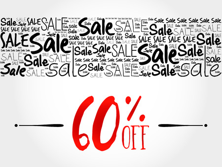 60: 60 OFF Sale word cloud background, business concept
