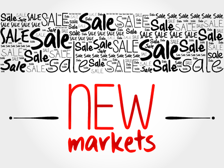 targeted: New Markets word cloud background, business concept