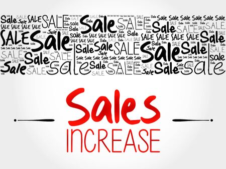 going: Sales Increase word cloud background, business concept