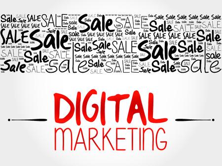 marketer: Digital Marketing word cloud background, business concept