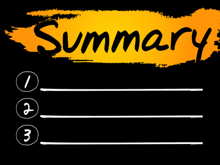concise: Summary Blank List, vector concept background