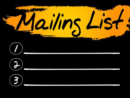 mailing: Blank Mailing List, vector concept background Illustration