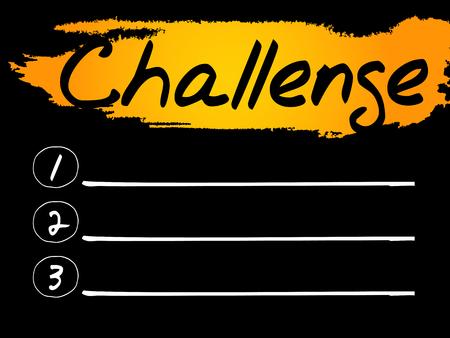 Challenge Blank List, vector concept background