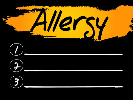 swelling: Allergy Blank List, vector concept background Illustration