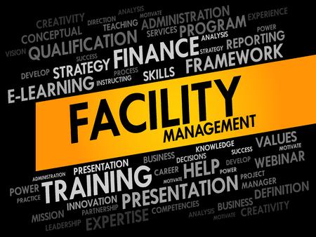gerente: Facility Management palabra nube, concepto de negocio