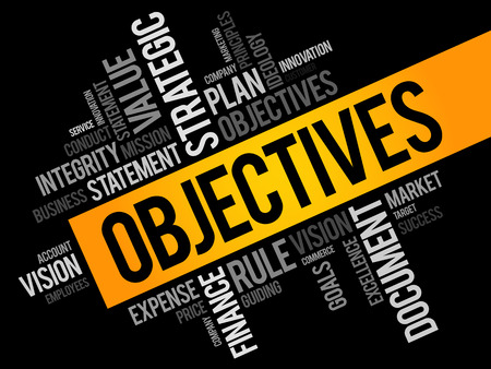 cloud tag: Objectives word cloud, business concept Illustration