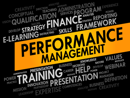 failed strategy: Performance Management word cloud, business concept