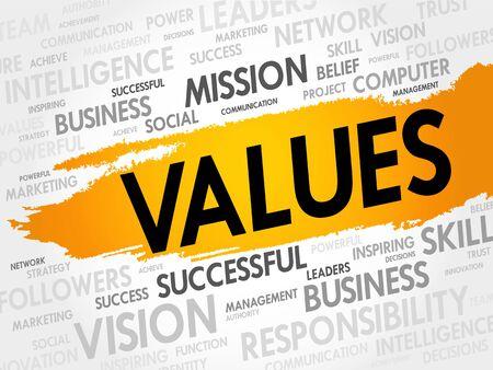 honestidad: VALORES nube de la palabra, concepto de negocio