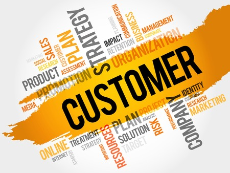 customer facing: Word Cloud with Customer related tags, business concept