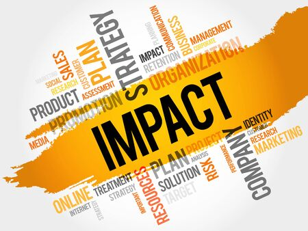 impact: Word Cloud with Impact related tags, business concept