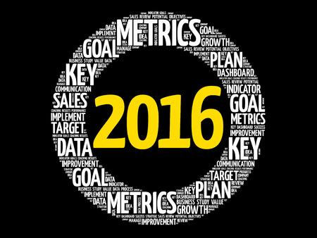 define: 2016 circle word cloud, business concept background