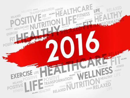 word cloud: 2016 health word cloud, concept background