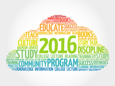 extramural: 2016 Education word cloud business collage, concept background