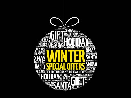 special offers: Winter Special Offers christmas ball word cloud, holidays lettering collage